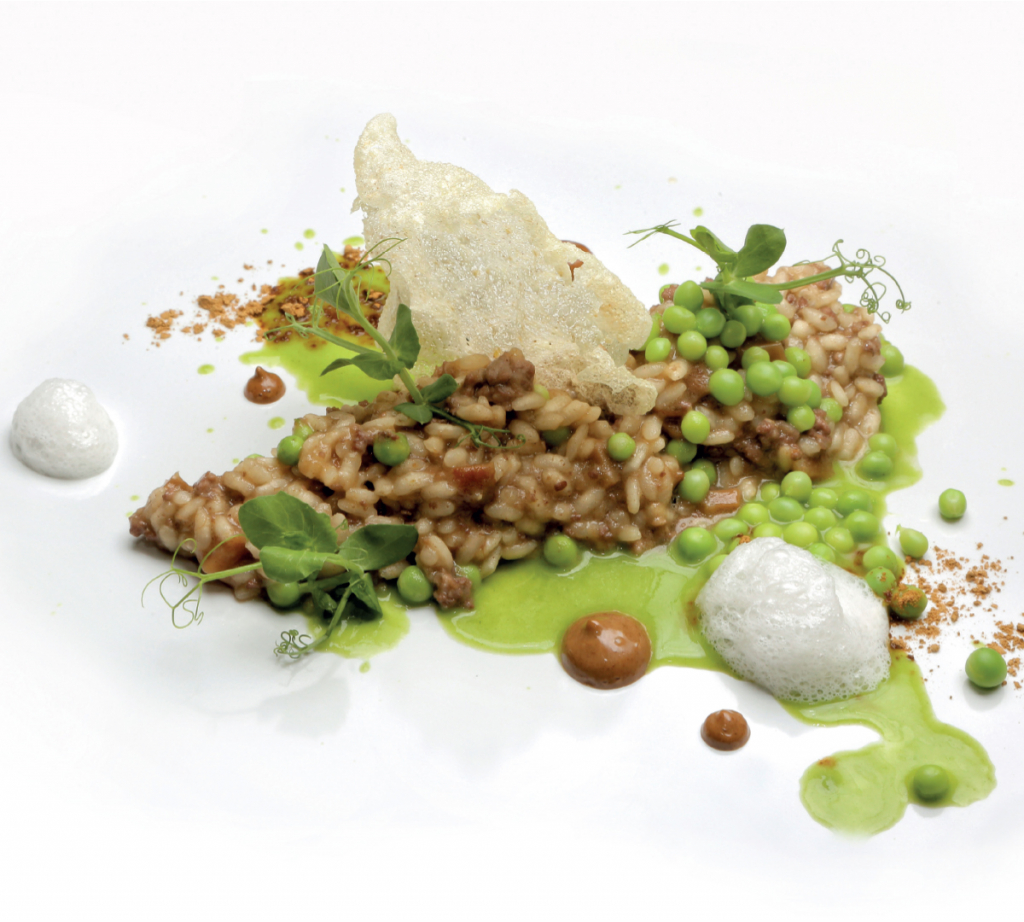 Recipe of creamy lamb rice with porcini mushrooms and tear drop peas