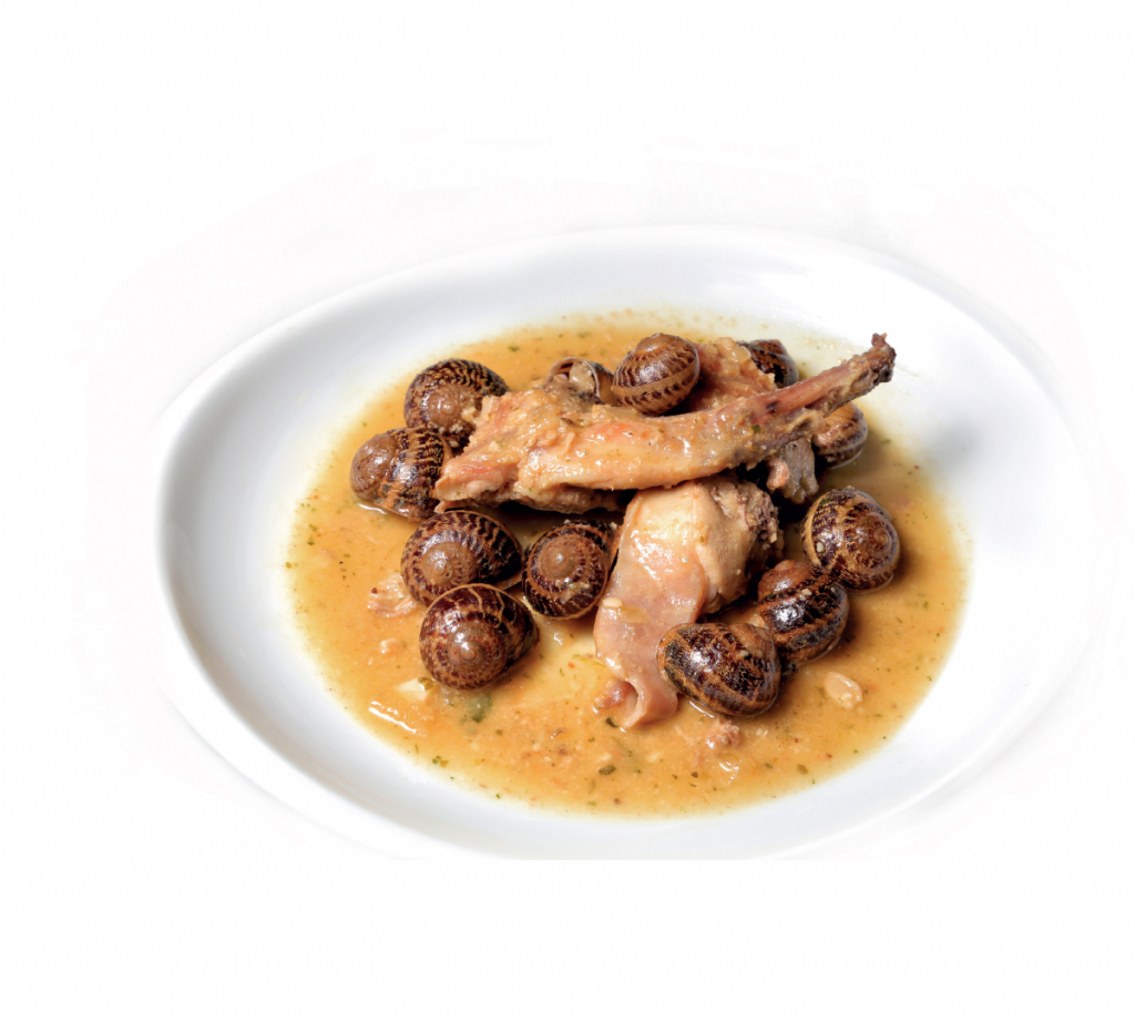Recipe of rabbit and escargots