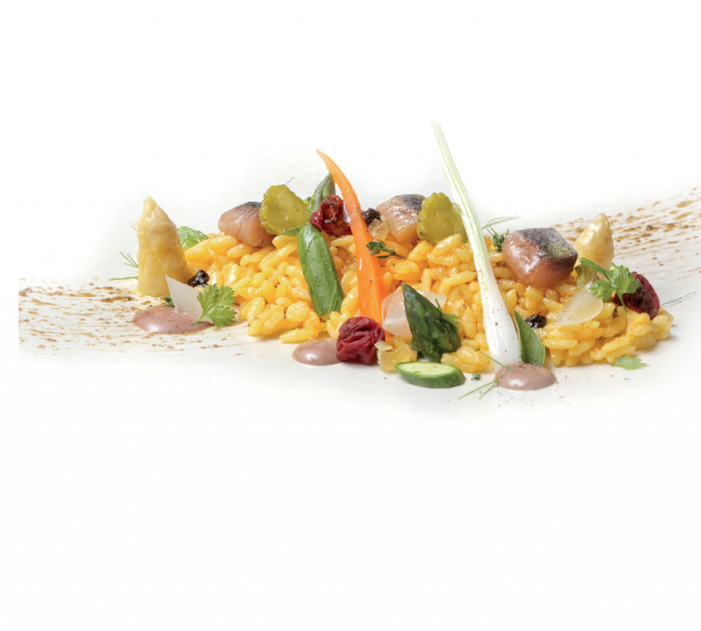 Recipe of maguro rice with pickled vegetables and smoked sardines